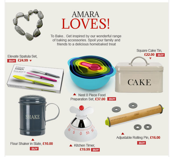 AMARA LOVES: To Bake.. Get inspired by our wonderful range of baking accessories. Spoil your family and friends to a delicious homebaked treat